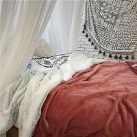 北欧*绒毛毯被子绒毯子加厚双层秋冬季沙发毯单双人盖毯休闲毯 双人200x230cmx5cm 双层