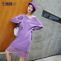 毛衣蕾丝连衣裙秋装新款女冬季时尚韩版修身打底中长款针织裙