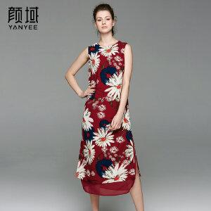 颜域品牌女装2017夏季新款复古印花无袖侧开叉中长款背心连衣裙女