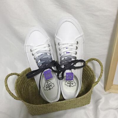 鞋子女2019新款百搭韩版学生小白鞋女港风板鞋女春季帆布鞋女