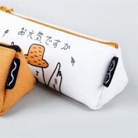 麦和MH1702-224阿鸭鸭三角笔袋白色创意文具帆布笔盒文具袋韩式风格大中小学生幼儿园男女孩办公开学用品收纳文具存储