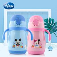 2018迪士尼新款儿童学饮杯双把手卡通吸管杯幼儿园婴童保温杯