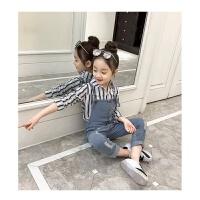 女童背带裤春装2018新款韩版洋气两件套韩版童装女中大童儿童套装