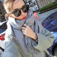 韩版围巾女冬季百搭纯色学生围脖披肩保暖针织仿羊绒长款加厚软妹