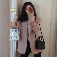 网红小西装外套女春秋2019新款韩版chic粉色宽松休闲西服上衣学生