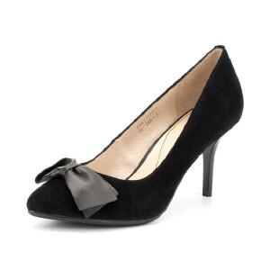 菲伯丽尔Fondberyl羊皮尖头高跟套脚蝴蝶结浅口高跟鞋FB61111511
