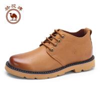 骆驼牌男鞋 新品时尚擦色简约舒适男皮鞋柔软牛皮系带鞋