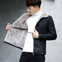 机车皮衣男冬季加绒加厚保暖上衣韩版潮流修身青年男士夹克帅气 黑色加绒