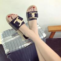 茉蒂菲莉 拖鞋 女式韩版夏季新款人字拖松糕底女鞋厚底防滑休闲鞋耐磨沙滩鞋学生百搭坡跟鞋子