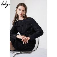【不打烊价:194.7元】 Lily春新款女装通勤简约条纹拼接宽松圆领上衣118430C8105