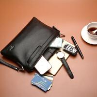 男士手包大容量男士手包男包信封包手拿包男软皮休闲商务手抓包夹包钱包潮 黑色