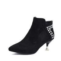 潮秋季冬季新款韩版尖头马丁靴女短靴子细跟小高跟鞋女鞋裸靴