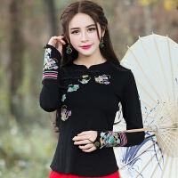 2018新品春装新品民族风女装复古刺绣改良旗袍上衣长袖T恤打底衫 黑色