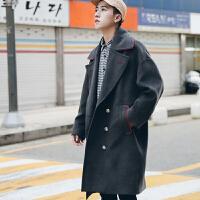 冬季加厚撞色双排扣毛呢大衣韩版青年宽松落肩中长款呢子外套男潮
