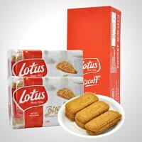 比利时进口lotus和情焦糖饼干124gX12包整箱装 酥性饼干休闲零食