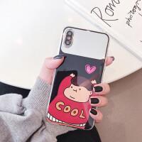 iphone苹果x/xr/XS Max/78plus手机壳后面带补妆镜子女款硅胶软6s 6/6s 4.7 镜面cooL