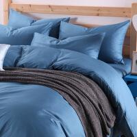 简约纯棉纯色四件套 全棉单色素色被套床单床笠式床上用品4件套