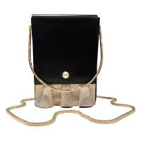 方盒子包小方包女斜挎包包晚宴链条手机圆环手提女包迷你小手拎包 黑色 金边