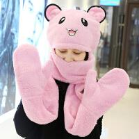 儿童围巾秋冬宝宝帽子手套三件一体套装