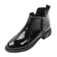 黑色马丁靴女英伦风侧拉链2019靴子女短靴冬加绒新款圆头低跟女士 黑色 单绒
