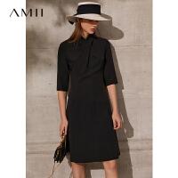 Amii极简时尚气质显瘦连衣裙2021春新款五分袖收腰赫本小黑裙子女