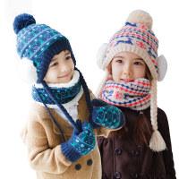 【支持礼品卡】宝宝帽子围巾手套三件套冬天男女童小孩秋冬儿童帽子套装一体e4t