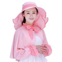夏天防晒帽子女户外遮脸骑电动车遮阳帽可折叠大沿太阳帽