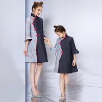 亲子装秋装潮母女时尚民族中国风改良旗袍连衣裙儿童礼服