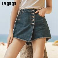 Lagogo/拉谷谷2019新款磨白刺绣直筒牛仔短裤女IANN134A65