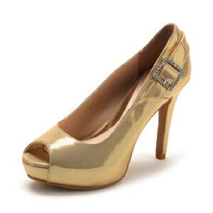 【3折到手价92.7元】Fondberyl/菲伯丽尔 春款羊皮水钻细跟鱼嘴单鞋女鞋FB41117213