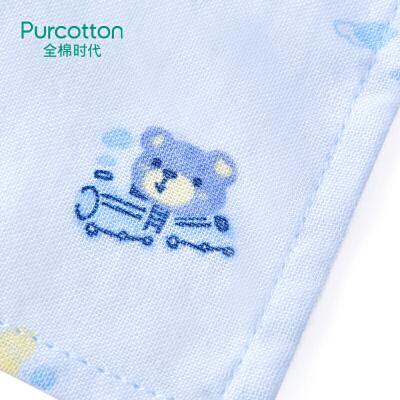 全棉时代 婴儿纱布三角巾宝宝纯棉口水巾手帕头巾2条装交通世界+蓝小熊旅行