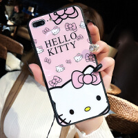 hello kitty猫苹果7plus手机壳iphone8女款钢化玻璃壳6s全包防摔x iPhone X - KT猫