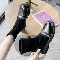 靴子女2019秋款欧美粗跟低跟中筒靴女时尚绒面马丁靴女英伦风短靴
