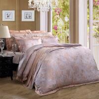 富安娜家纺 富安娜涤粘大提花四件套 床上用品欧美床品床单套件 米兰之夜 七号公园-米白 1.8m(6英尺)床
