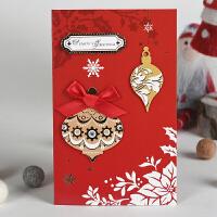 伊和诺2019立体手工贴花蝴蝶结闪粉贺卡卡片暖冬手工圣诞卡1901