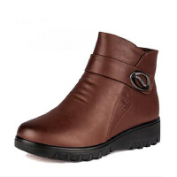 秋冬季老人女鞋中年女靴 羊毛皮鞋中老年人短靴 保暖真皮妈妈鞋棉鞋