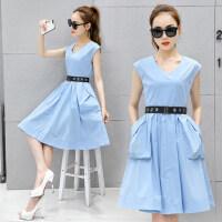 韩版女装修身显瘦大口袋连衣裙 新款潮个性收腰V领无袖打底中长款连衣裙长裙