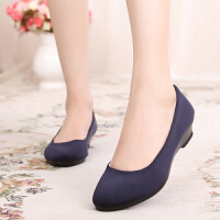 老北京布鞋女鞋坡跟套脚工作鞋坡跟职业上班鞋工装黑布鞋单鞋