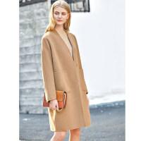Amii极简chic时尚潮小香风双面呢大衣女冬季新款V领全羊毛呢外套