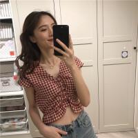 很仙的上衣洋气衬衫女韩版夏装新款小清新V领蝙蝠袖格子衬衣短款
