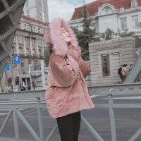 冬季外套女短款chic金丝绒棉衣韩版面包服2018新款毛领小棉袄