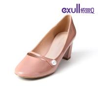 依思q单鞋女新款休闲鞋舒适百搭低跟四季鞋粗跟18150101