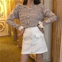 秋装复古单排珍珠扣杂色长袖温柔毛衣外套+高腰粗花呢半身裙套装 均码