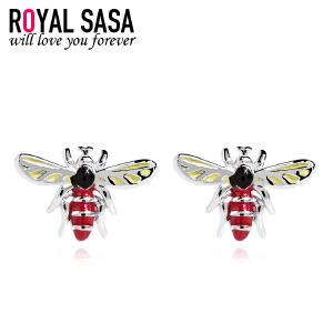 皇家莎莎耳饰S925银耳钉女可爱蜜蜂耳环耳扣日韩国版创意首饰品