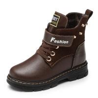 加绒男童皮鞋冬季童鞋保暖雪地靴儿童棉靴男孩牛皮马丁靴高帮真皮棉鞋