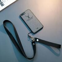 布纹iphone7手机壳挂绳苹果8plus保护套Xs Max情侣6s男女款冬 6/6s 4.7寸(浅灰)