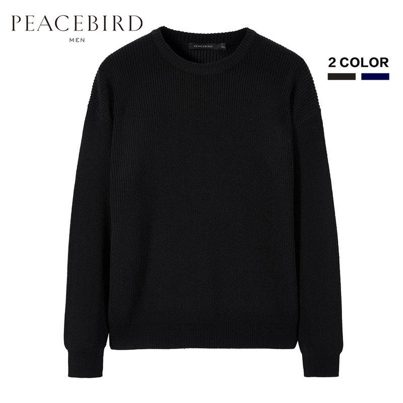 太平鸟男装 冬季新款青年时尚羊毛衫清新圆领套头韩版宽松毛衣潮