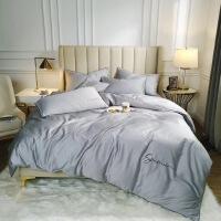 床上用品60支纯色刺绣长绒棉纯色四件套床单床笠款