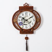 实木新中式钟表装饰挂钟客厅个性时钟复古时尚创意家用中国风 16英寸