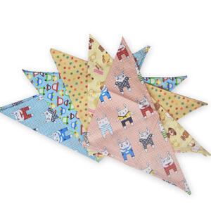 货到付款 Yinbeler【5条装】三角巾儿棉质夏季婴儿卡通口水巾单层超大宝宝围嘴头巾